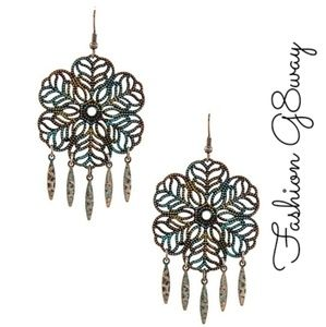 *HP* BOGO Patina Floral Ornate Drop Earrings